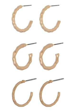 Accessorize Gold Tone Textured Hoops Three Pack