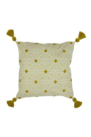 Chia Tassell Edge Geo Cushion by Furn