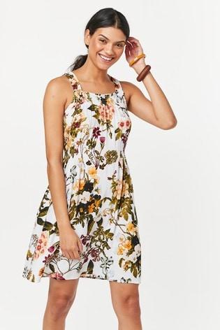 White Floral Print Short Dress