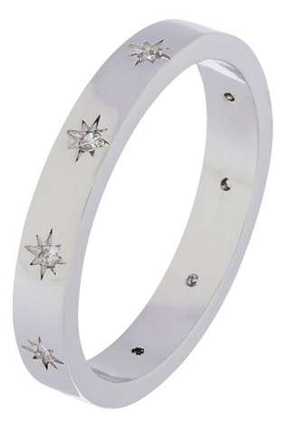 Accessorize Silver Plated Sparkle Star Band Ring