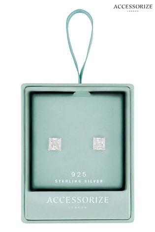 Accessorize Silver Princess Cut Solitaire Earrings