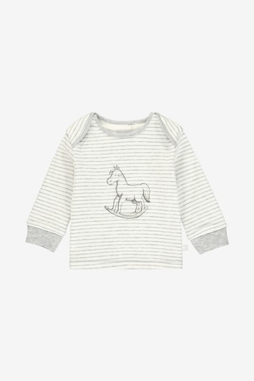 The Little Tailor Cream Print Rocking Horse Jersey Top