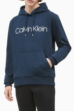 Calvin Klein Blue Organic Cotton Logo Hoody