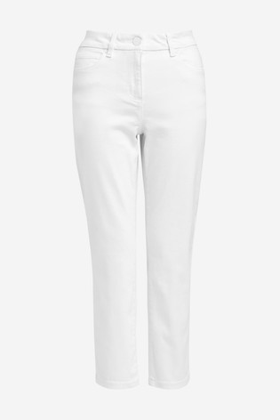 White Cropped Straight Jeans