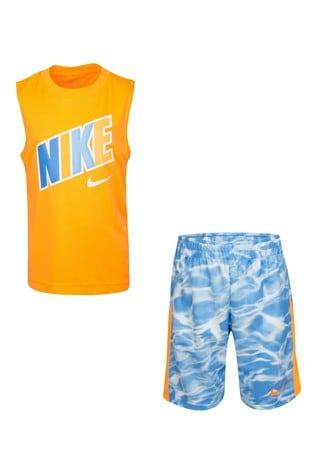 Nike Little Kids Orange Vest And Tie Dye Shorts Set
