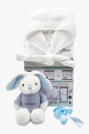 Babyblooms Personalised Blue Bathrobe and Baby Bunny Soft Toy