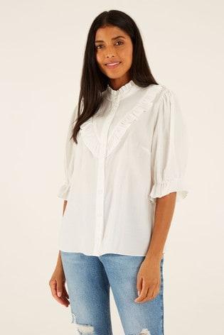 F&F White TENCEL™ Ruffle Shirt