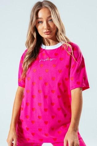 Hype. Womens Pink Heart Oversized T-Shirt