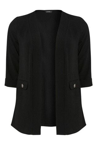Evans Black Curve Button Crepe Jacket