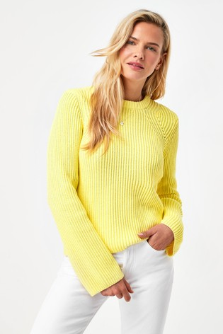 Yellow Rib Detail Crew Neck Jumper