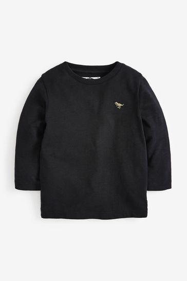 Black Long Sleeve Plain T-Shirt (3mths-7yrs)