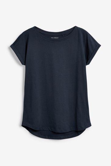 Navy Cap Sleeve T-Shirt