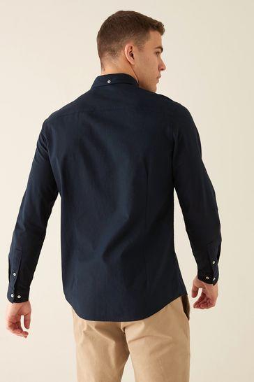 Navy Slim Fit Long Sleeve Stretch Oxford Shirt