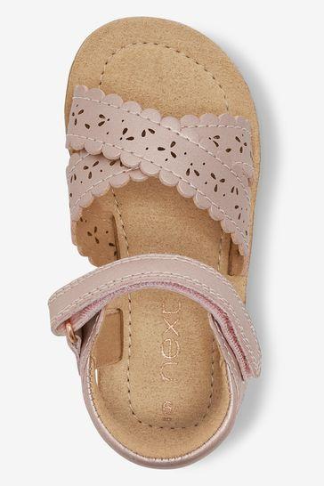 Pink Standard Fit (F) Scallop Sandals
