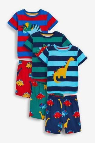 Multi Stripe Dinosaur 3 Pack Short Pyjamas (9mths-12yrs)