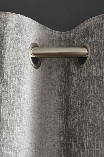 Silver Grey Heavyweight Chenille Eyelet Lined Curtains