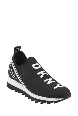 DKNY Black Abbi Logo Slip-On Trainers