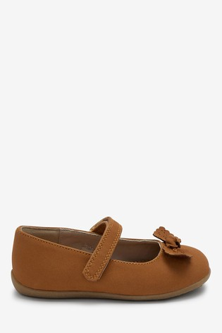 Tan Wide Fit (G) Bow Mary Jane Shoes