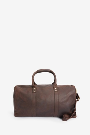Brown Signature Oiled Leather Holdall
