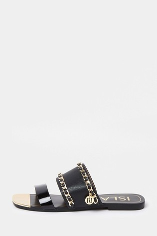 River Island Black Chain Branded Mules