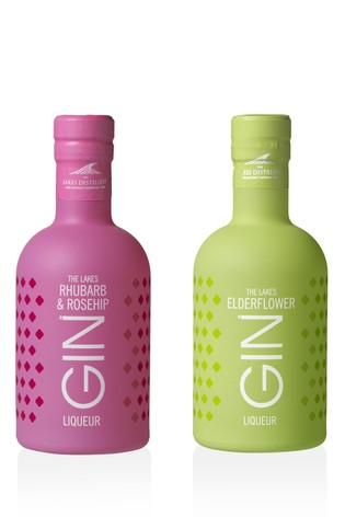 20cl Rhubarb And Rosehip Gin And Elderflower Gin Gift Set by The Lakes Distillery