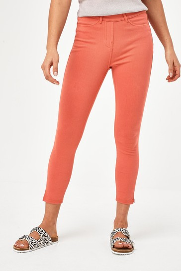 Coral Pink Jersey Cropped Leggings