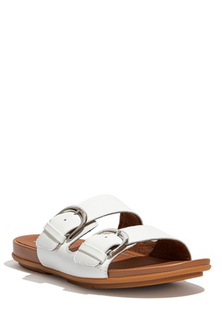 FitFlop White Graccie Buckle Slides