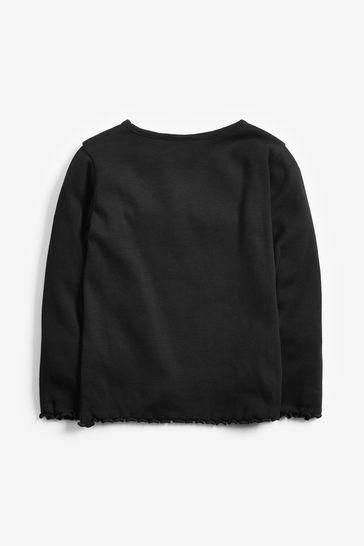Black Long Sleeve Rib T-Shirt (3mths-8yrs)