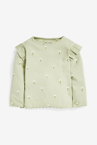 Green Floral Long Sleeve Rib T-Shirt (3mths-8yrs)