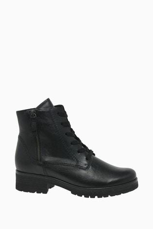 Gabor Zane Black Leather Fashion Ankle Boots