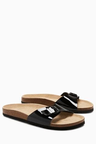 Black Leather Single Buckle Sandals