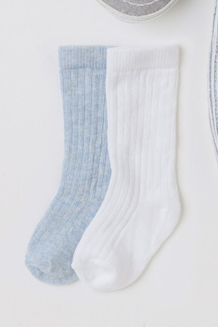 Blue/White 2 Pack Knee Length Socks (Younger)