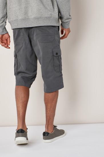 Charcoal Belted Longer Cargo Shorts