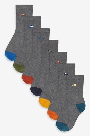 Grey 7 Pack Cotton Rich Car Motif Socks