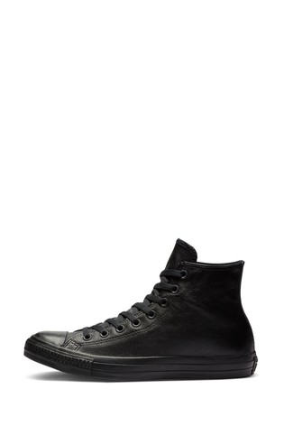 Converse Black Leather High Top Trainers