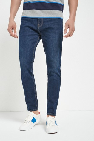 Dark Blue Tapered Slim Fit Slim Fit Jeans With Stretch