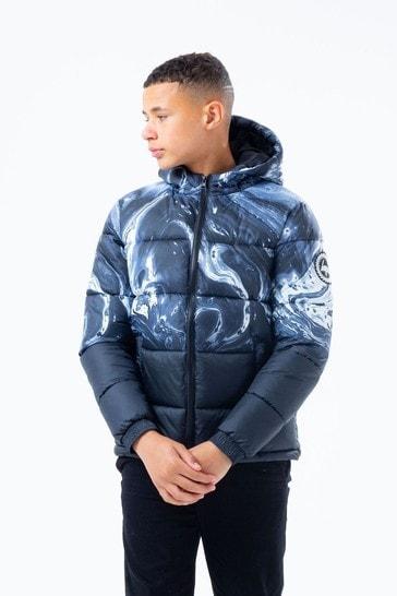Hype. Black Marble Print Puffer Jacket