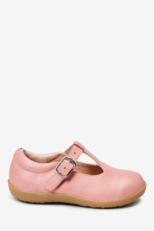Pink Leather Wide Fit (G) Little Luxe™ T-Bar Shoes