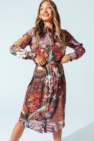 Hype. Womens Multi Persian Rose Shirt Dress