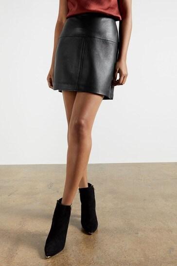 Ted Baker Valiat A-Line Leather Mini Skirt