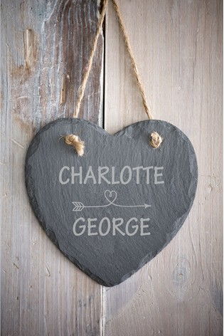 Personalised Love Slate Heart by Loveabode