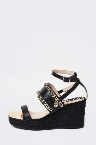 River Island Black Chain Detail Wedge Sandals