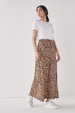 Animal Print Jersey Maxi Skirt