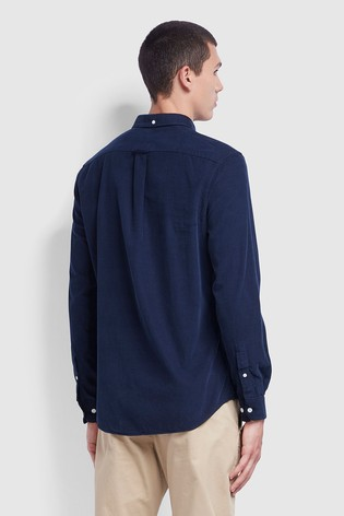 Farah Blue Fontella Cord Long Sleeved Slim Fit Shirt