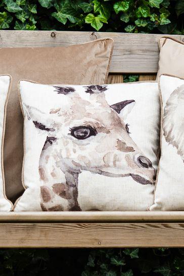 Watercolour Safari Giraffe Cushion by Evans Lichfield