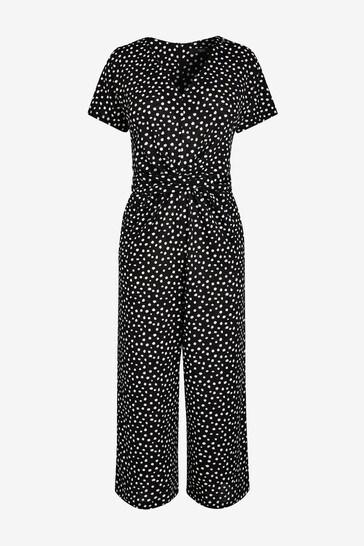 Monochrome Polka Dot Twist Jumpsuit