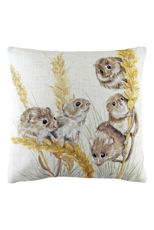 Hand Painted Woodland Fieldmice Cushion by Evans Lichfield