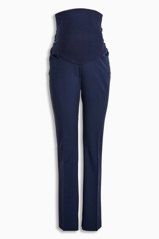 Navy Maternity Over The Bump Boot Cut Trousers