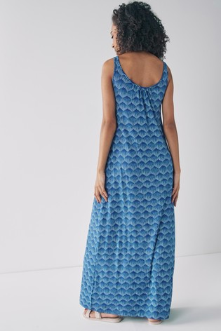 Blue Geo Trapeze Maxi Dress