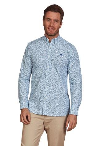 Raging Bull Mid Blue Long Sleeve Bluebell Print Shirt
